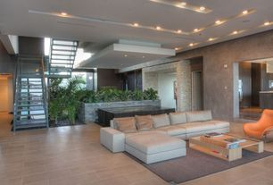 Contemporary Great Room with sandstone tile floors