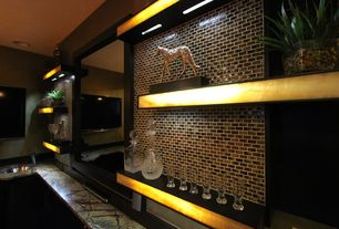 Contemporary Bar with Wall sconce, Built-in bookshelf