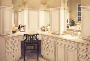 Traditional Master Bathroom with Master bathroom, Flat panel cabinets, Art desk, Inset cabinets, Simple granite counters