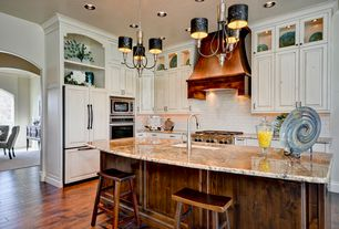 Traditional Kitchen with electric cooktop, Standard height, Paint1, full backsplash, Pendant light, Custom hood, Raised panel