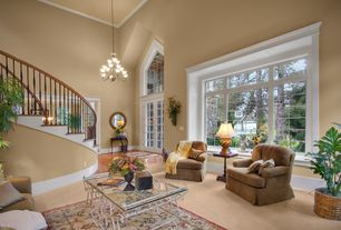 Traditional Entryway with Crown molding, French doors, Chandelier, Hardwood floors, High ceiling