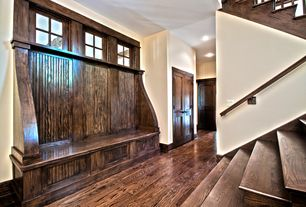 Craftsman Entryway with High ceiling, French doors, specialty window, can lights, Window seat, Hardwood floors