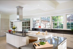 Contemporary Kitchen with Ms international carrara white marble, Quartz counters, L-shaped, Soapstone counters, Soapstone