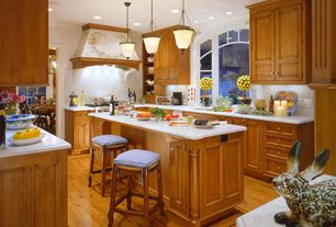 Traditional Kitchen with Arched window, Inset cabinets, Pendant light, full backsplash, Simple Marble, Simple marble counters