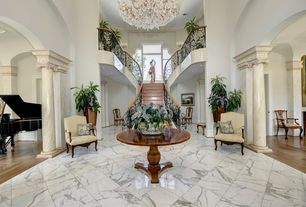 Traditional Entryway with High ceiling, MS International Grecian White 12 in. x 12 in. Polished Marble Floor and Wall Tile