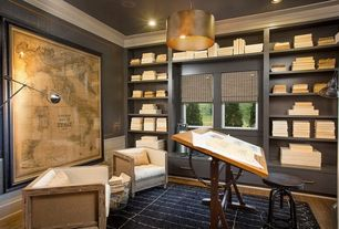 Traditional Home Office with interior wallpaper, Pendant light, Built-in bookshelf, Hardwood floors, Crown molding, Mara Rug