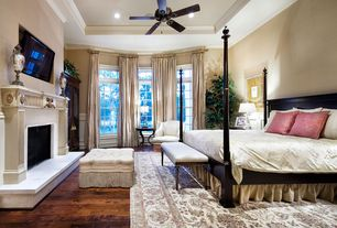 Traditional Master Bedroom with Paint 2, stone fireplace, Standard height, Bay window, Crown molding, Paint, Hardwood floors