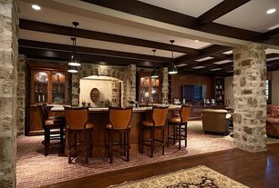 Traditional Bar with Standard height, can lights, Pendant light, Brick floors, Columns, Exposed beam