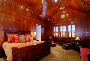 Craftsman Master Bedroom with specialty door, can lights, Exposed beam, double-hung window, flush light, picture window