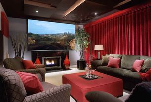 Contemporary Home Theater with Fireplace, can lights, Carpet, Acoustical panels in ceiling, High ceiling, stone fireplace