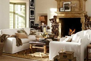 Eclectic Living Room with Paint, Pottery barn - comfort roll box-edge cushion armchairs, Firepalce, Grid pattern window