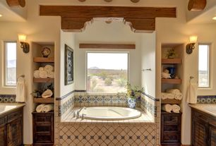 Mediterranean Master Bathroom with Master bathroom, High ceiling, Undermount sink, Built-in shelving, Flat panel cabinets
