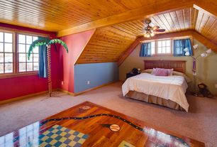 Country Kids Bedroom with Ceiling fan, Pendant light, Carpet