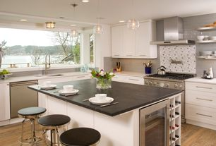 "Contemporary Kitchen with Subway tiles - 5th avenue 3"" x 6"" - grey glossy, Wine refrigerator, Corian counters, L-shaped"