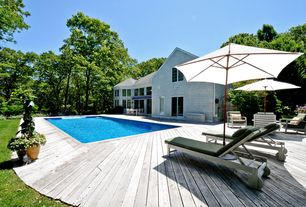 Traditional Deck with exterior awning, Lap pool, Pathway
