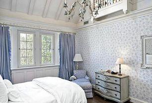 Traditional Master Bedroom with Balcony, interior wallpaper, Hardwood floors, Casement, Chandelier, Exposed beam