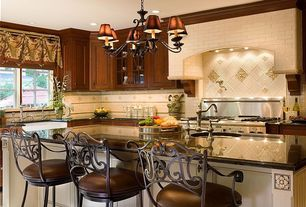 Traditional Kitchen with Large Ceramic Tile, Savita scroll back swivel stool, L-shaped, Casement, Simple granite counters