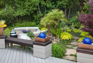 Eclectic Landscape/Yard with Natural stone pathway, Deck bench seating, Fire pit, Fence, Pathway, Ornamental grass
