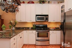 Traditional Kitchen with Frigidaire 4.8 cu. ft. Electric Range in Stainless Steel, Glass panel, L-shaped, Hardwood floors