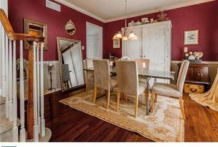 Eclectic Dining Room with Chair rail, Shabby chic, Built-in bookshelf, Hardwood floors, Crown molding, Antique armoire