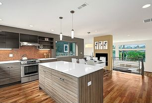 Modern Kitchen with One-wall, European Cabinets, Kitchen island, Penny Tile, Pendant light, Corian counters, Elegant White