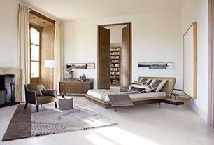 Contemporary Master Bedroom with Coja - Viv Leather Arm Chair, Concrete tile , Glass panel door, specialty door