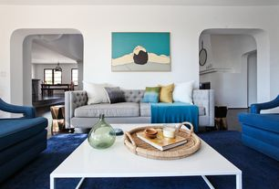 Contemporary Living Room with Strut Coffee Table, High ceiling, Elizabeth Tufted Settee, Hardwood floors