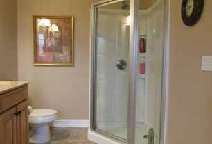 Traditional 3/4 Bathroom with Home Depot 38 in. x 38 in. x 74-1/4 in. Neo-Angle Shower Kit in White and Chrome