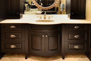 Traditional Full Bathroom with stone tile floors, Powder room, Raised panel, Simple Granite, Simple granite counters, Flush
