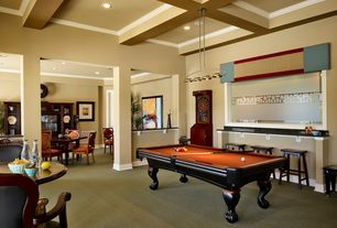 Traditional Game Room with Pendant light, Box ceiling, Carpet, Columns