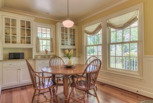 Traditional Dining Room with Built-in bookshelf, Wainscotting, Parisian architectural ecole pendant, double-hung window