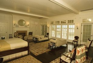 Country Master Bedroom with Transom window, High ceiling, Wall sconce, Exposed beam, Laminate floors, Crown molding