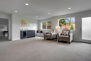 Contemporary Great Room with Window seat, picture window, French doors, can lights, Carpet, Standard height, Casement