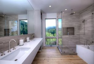 Contemporary Master Bathroom with Hardwood floors, Master bathroom, Double sink, Rain shower, frameless showerdoor