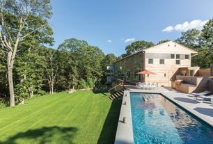 Contemporary Swimming Pool with French doors, Outdoor kitchen, Pathway