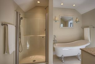 """Traditional Master Bathroom with Vanity art we6310 69"""" acrylic bath tub in white, Simple granite counters, Wall sconce"""