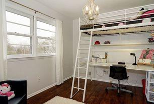Contemporary Kids Bedroom with Chandelier, Hardwood floors