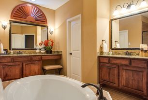 Traditional Master Bathroom with Wall sconce, specialty door, Simple Granite, Hunter Douglas Arched Window Shutters