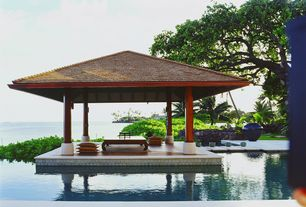 Tropical Swimming Pool with Gazebo, Pathway