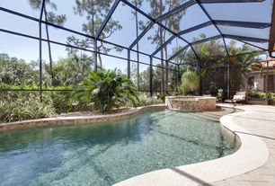 Tropical Swimming Pool with French doors, Indoor pool, Transom window, picture window, Skylight, Pool with hot tub