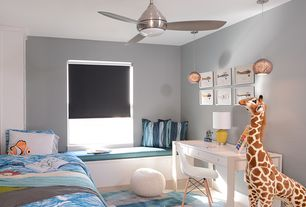 Contemporary Kids Bedroom with no bedroom feature, Carpet, Window seat, Standard height, Ceiling fan, Pendant light