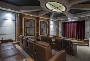 Art Deco Home Theater with Carpet, Skylight, Crown molding, Exposed beam, Standard height, can lights