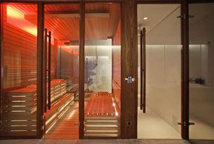 Contemporary Master Bathroom with Hardwood floors, Teak Works 4 U Custom Teak Spa Bench or Step, Sauna, Standard height