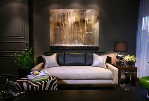 Contemporary Living Room with Carpet, interior wallpaper, Amara zebra printed cow skin cube pouf, specialty door