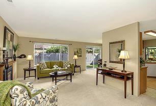 Modern Living Room with Casement, Fireplace, Standard height, metal fireplace, Carpet, picture window, sliding glass door