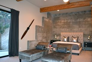 Modern Master Bedroom with Exposed beam, Carpet, flush light, LuXeo Roxbury Platform Bed