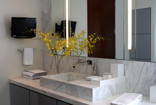 Contemporary Master Bathroom with Inset cabinets, Complex marble counters, Complex Marble, High ceiling, Master bathroom