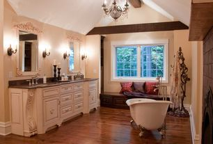 Traditional Master Bathroom with Inset cabinets, Double sink, Master bathroom, Maxim lighting, Undermount sink, Clawfoot