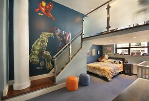 Contemporary Kids Bedroom with Loft, Columns, Captain america decal removable wall sticker, can lights, Standard height