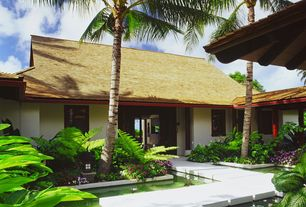 Tropical Landscape/Yard with Pond, Casement, exterior concrete tile floors, Pathway, exterior tile floors